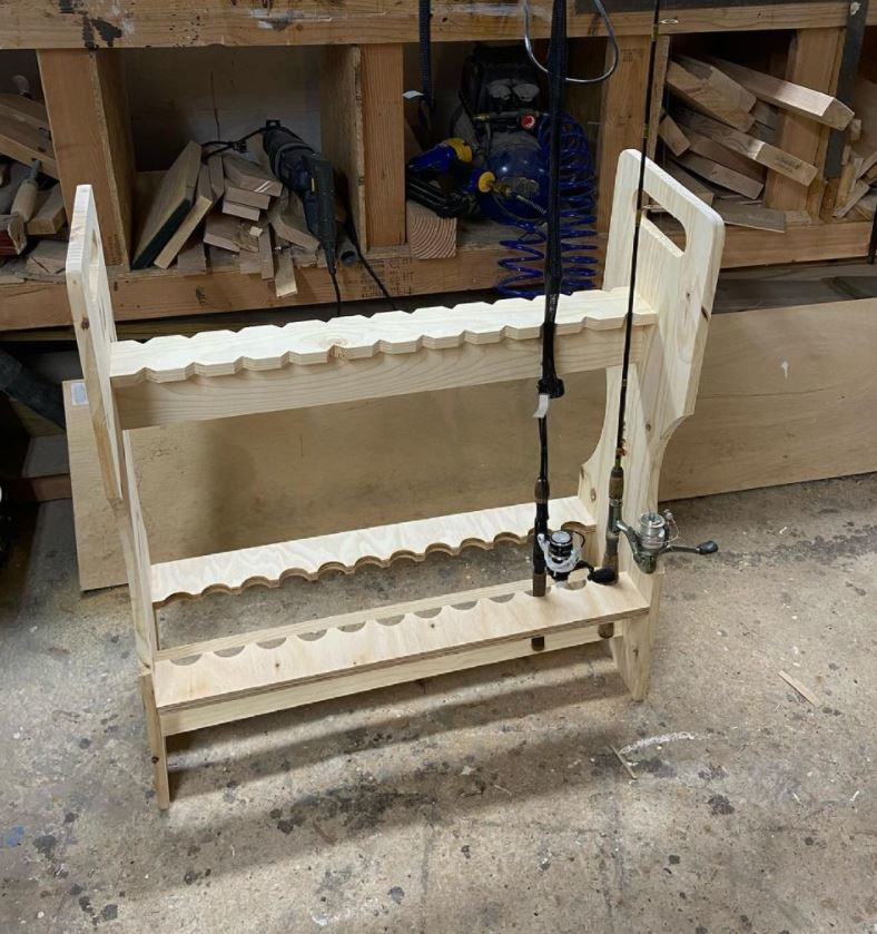 Wooden Fishing Rod Rack
